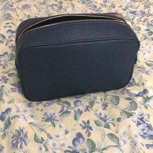Dark Teal leather travel toiletries bag